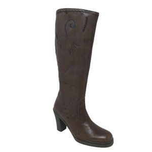 Shoes - Embroidered Brown Leather Heeled Tall Boots